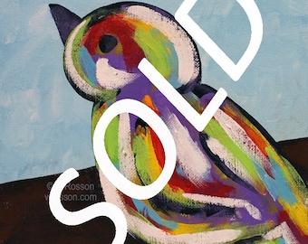 SOLD-------------------Colorful Bird, Original Art, Original Painting, Winjimir, Home Decor, Kids Room, Bird Lover, Bird Painting, Gift,