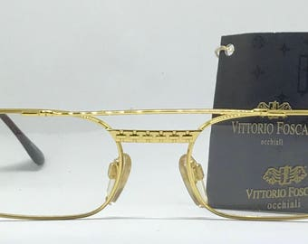 Vittorio Foscari VF 202 / Vintage Eyeglasses / NOS Unworn / 22kt Gold / Made In Italy