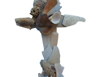 Sculptured Cross from naturally broken seashells found on beach by artist, unique seashell Crucifix, original religious wall decor