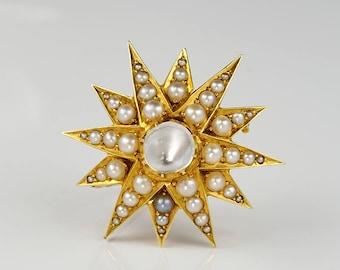 Victorian Moonstone Natural Pearl Celestial Star brooch Pendant