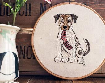 Embroidery kit, jack russell terrier, mothers day gift, cute embroidery design, hand embroidery, sewing kit, dog, embroidery hoop art, JRT