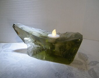 Candle Holder, Green Chunk Glass Candle Holder, Glass Rock Candle Holder