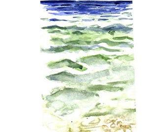 Greek Sea No1 Card/Or Print Watercolour