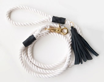 Rope Dog Leash - Black Leather with Tassel
