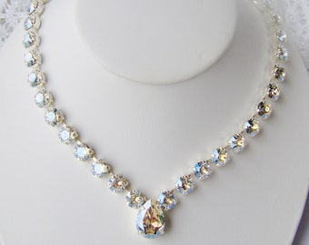 Swarovski crystal rhinestone necklace / Crystal Moonlight / April birthstone / Statement necklace / Bridal / Tennis necklace