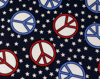 "Peace Sign Fabric Peace Symbol Fabric  Five - 6""  Cotton Fabric Block Quilt Charm  5 Pieces  # 301-1090"