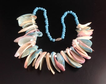 Turquoise Glass Beaded Variated Chunky and Spiky Colored Shell Statement Necklace Beach Necklaces