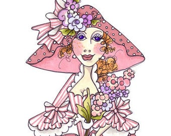 """Loralie Art Stamp - 701029 Lady With Flowers - 4"""" x 6"""" Cling Rubber Sheet"""