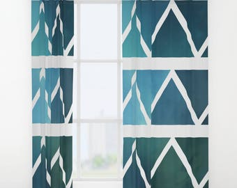Window Curtains - Drapes - Blue Triangle Art - Modern - Blue and White - Ombre - Window Treatments - Made to Order