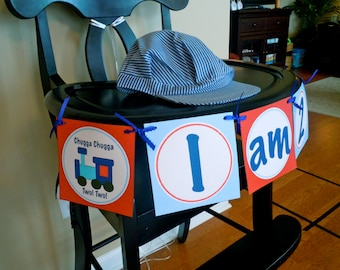 Train High Chair Banner, Birthday, Blue and Red, Chugga Chugga Two Two or Chugga Chugga Choo Choo