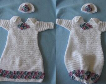 Crochet Pattern - Baby Sweet Pea Pattern - Infant Pajama Pattern - Baby Sleepwear, Digital Download