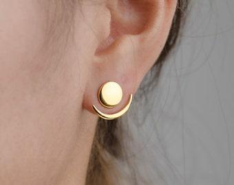 Moon Phase Ear Jacket, Sterling Silver, Gold Plated, Geometric Jacket Earrings, Gift for Girlfriend, Handmade, Lunaijewelry, EJK008