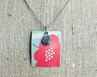 "Tin Jewelry Necklace ""Poppy"" Tin for the Ten Year Tenth Wedding Anniversary"