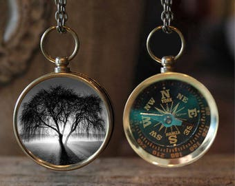 Tree of Life photo compass necklace, Compass, B&W Tree, Compass Necklace, Compass Jewelry, Travel Jewelry, Travel Gift, Gift Idea, Trees
