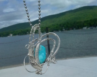 sterling silver and turquoise wire wrap