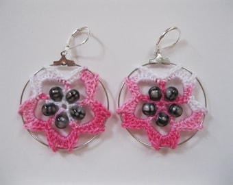 Delicate Cherry Blossom Crochet Earrings with Grey Beads