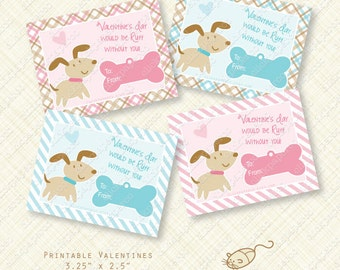Puppy Printable Valentine Cards or Labels. valentines day card. ruff editable text instant download pink blue stripes plaid digital pdf dog
