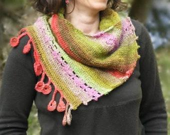 Dancing Marguerites Shawl - PDF crochet pattern - Sideways fun shawl