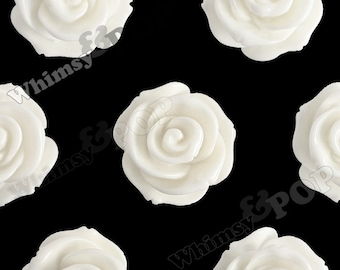 23mm - Large White Rose Cabochons, Flower Cabochon, Rose Shaped, Rose Cabochons, Flower Cabochon, 23mm (R5-009)