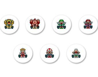 Lot Pins Ø25mm - o38mm Pinback Button Badge / Magnet o38mm Mario Kart