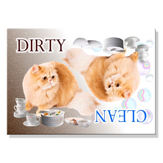 Persian Cat Clean Dirty Dishwasher Magnet No 4