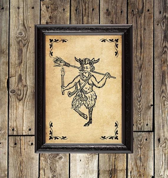 Faun faun print Pan Horned God Pagan satyr magic canvas