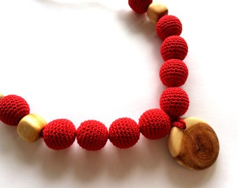 Red teething necklace, Mammy and baby teething crochet necklace, Teething necklace, Sling accessory, Necklace, Baby toy, Gift, Natural toy