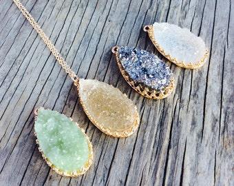Long Necklace, Druzy Necklace, Long Necklace Pendant, Long Statement Necklace, Long Beaded Necklace