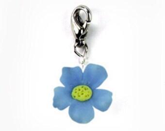 12 petites Forget Me Not, bijoux fait main de Polymer Clay fleurs cadeaux charme, 12 pièces