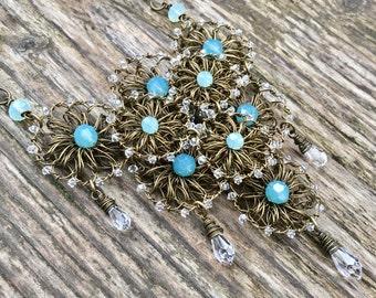 Mermaid Necklace - Bohemian Aqua Statement Necklace with Swarovski Crystal - Boho Chic Wire Crochet Necklace - Blue Green