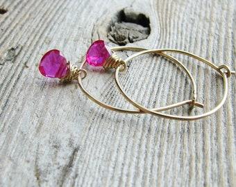 Ruby Hoop Earrings Wire Wrapped Cubic Zirconia Briolettes Wire Sleeper Hoops Minimalist Modern Fresh July Birthday Jewelry