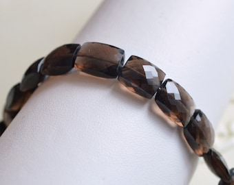 AAA Smoky Quartz Gemstone Beads Dark Chocolate Brown Faceted Rectangles Cushion Cut 10 - 11mm Set of 10