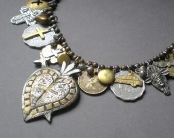 Abundance.. Milagro Heart Statement Necklace..  Artisan Hand Made Collage. Ex Voto .Peru Mexico. Blessing Necklace. Frida Kahlo