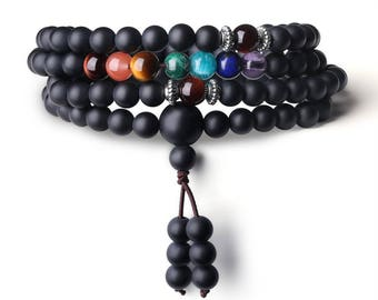 Buddhist Prayer 108 Mala Beads Matte Onyx 7 Chakra Semi Precious Gemstone Bracelet/Necklace 6mm
