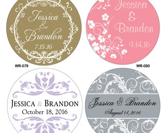 48 - 2.5 inch Custom Glossy Waterproof Wedding Stickers Labels - hundreds of designs to choose - change designs to any color or wording