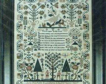 Jane Philpott 1737 Adam & Eve Sampler by Shakespeare's Peddler Counted Cross Stitch Pattern/Chart