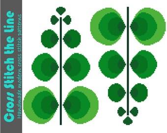 Fun retro cross stitch pattern. Mid Century modern design. Contemporary embroidery chart of fun fern leaves.