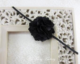 Black Flower Headband, Petite Black Satin and Tulle Flower Puff Stretchy Headband or Hair Clip - Infant Toddler Girl
