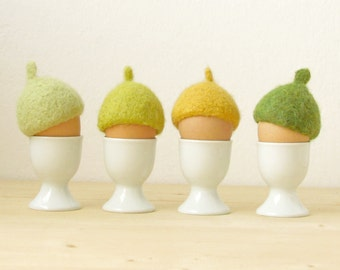 Egg cosies for Easter - green and yellow pastel - felted acorn cap - Set of four - Cozy gift - table decor
