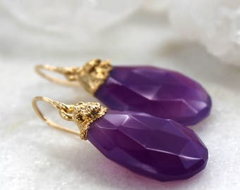 HUGE SALE chalcedony earrings, gold earrings, gold filled, briolette earrings, amethyst earrings, purple chalcedony, dangle earrings