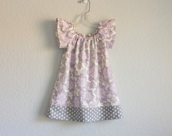 LAST ONE! Little Girls Purple Dress - Lavender and Grey Floral Dress - Girls Lavender Flutter Sleeve Dress - Size 12m, 18m, 2T, 3T, 4T or 5
