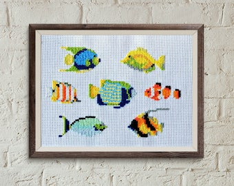 cross stitch embroidery pattern, Fish, modern hand embroidery, lake house decor,