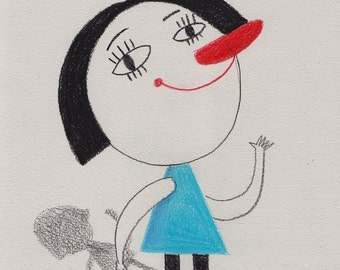 Hi Everyone / ORIGINAL ILLUSTRATION / Children illustration / Say hi / Care haircut / Shadow / White background / Blue dress