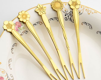 Bouquet of 5 Flower Fruit Forks *MANY COLORS*