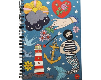 Merman Spiral Bound Notebook with lined pages