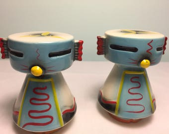 Vintage Indian Kachina dolls salt and pepper shakers - southwestern Indian - mid century Kachina doll shakers - kitschy doll shakers