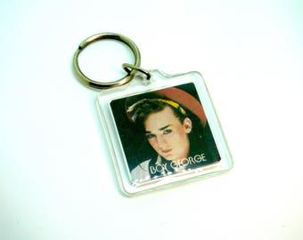 Vintage 80s Boy George / Culture Club Keychain