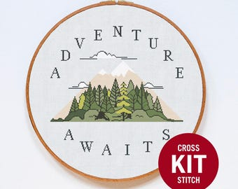 Adventure Cross Stitch Kit, Mountain Cross Stitch Kit, Quote Modern Cross Stitch Kit, Counted Cross Stitch Pattern Instructions