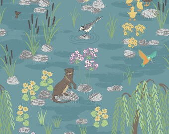Down by the River A219.2 on Teal Lewis & Irene Patchwork Quilting Dressmaking Fabric