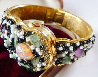 Bejeweled Crawford hinged hidden watch bangle | hinged clamper bypass watch bracelet | analog mystery watch | Swiss 21 jewels wind up | runs